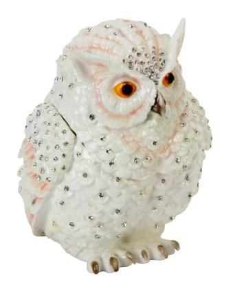 Juliana  Trinket Box   White Owl